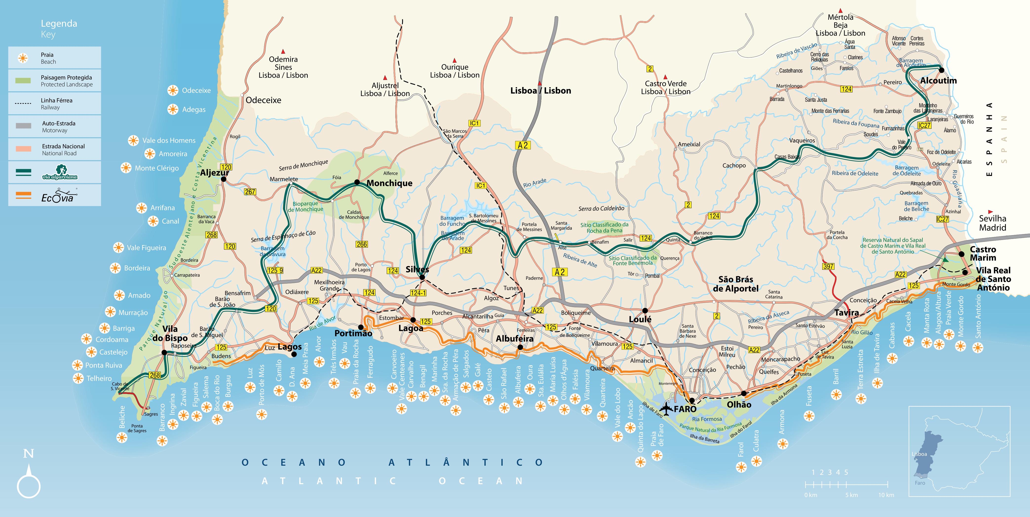 algarve karte Algarve Karte: Überblick und Orientierungshilfe • Algarve für