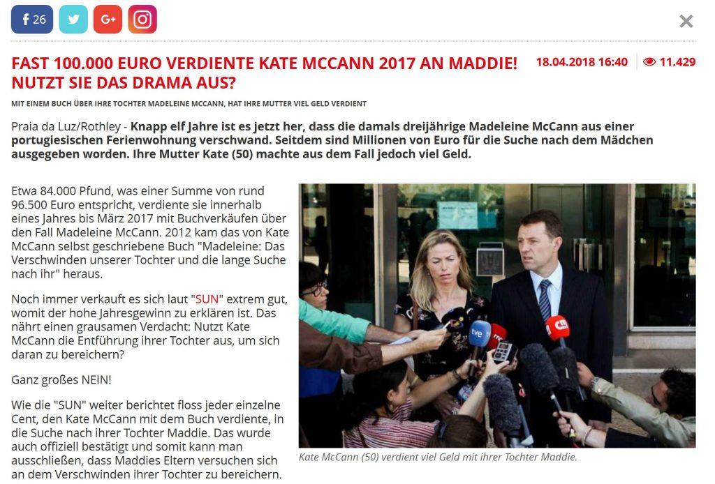 Madeleine McCann im 11. Jahr ihres Verschwindens Thema von Boulevardmedien