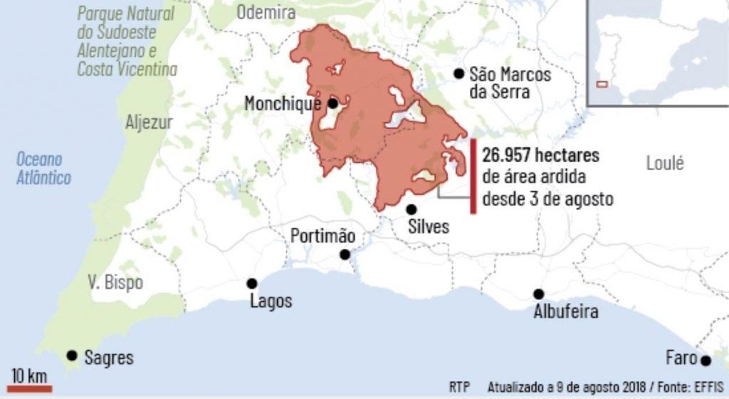 Flammen vernichteten 27.000 Hektar Natur an der Algarve