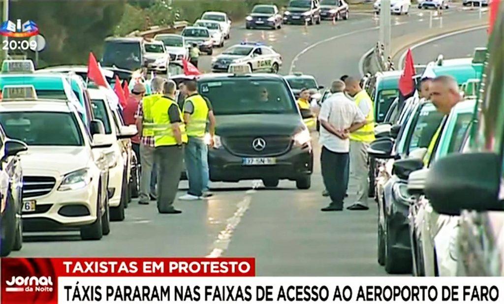 Algarve News über Bericht in SIC über Taxifahrerstreik in Faro