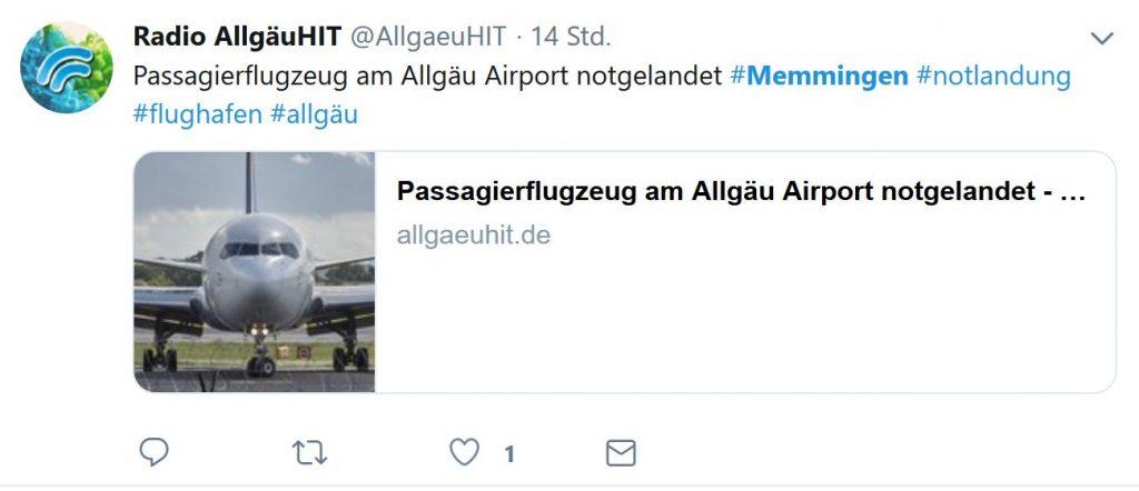 Algarve-Passagiere in Schrecken wegen technischen Defekts vor Landung im Allgäu