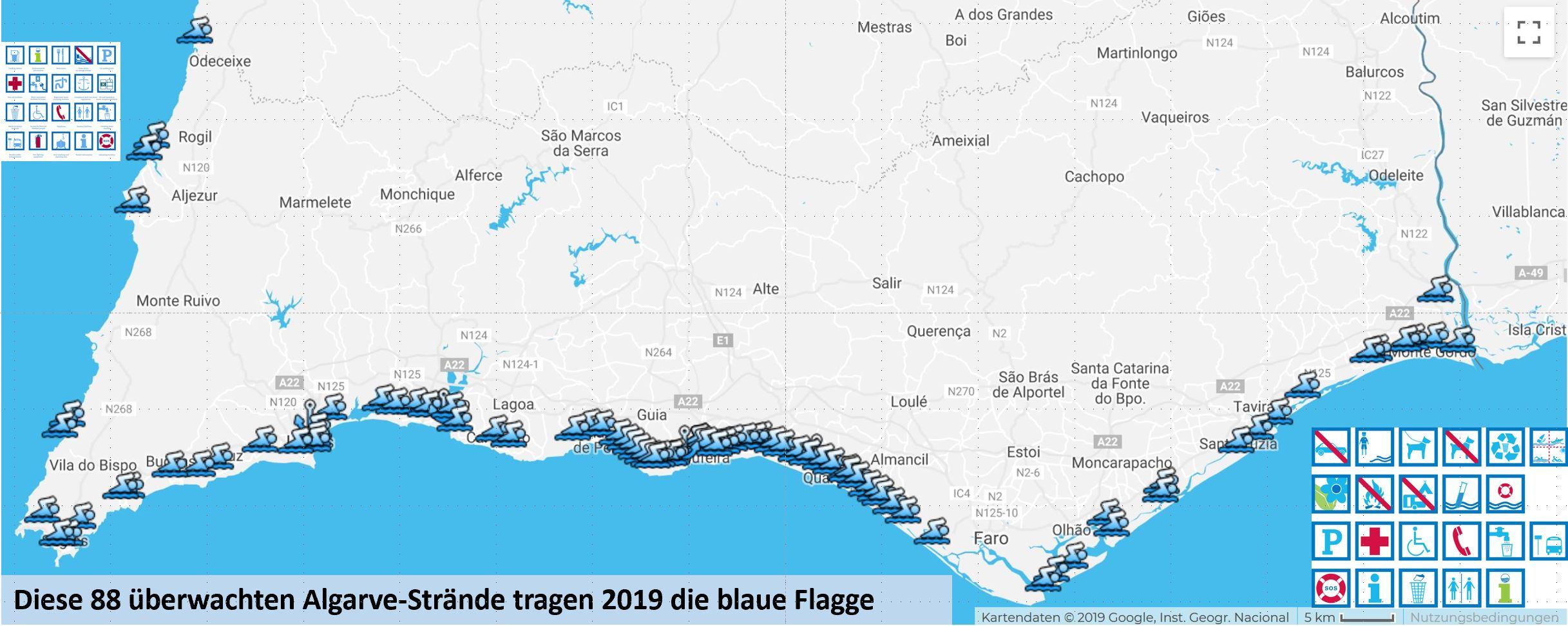 Strandqualität an der Algarve gesichert duch 88 blaue Flaggen