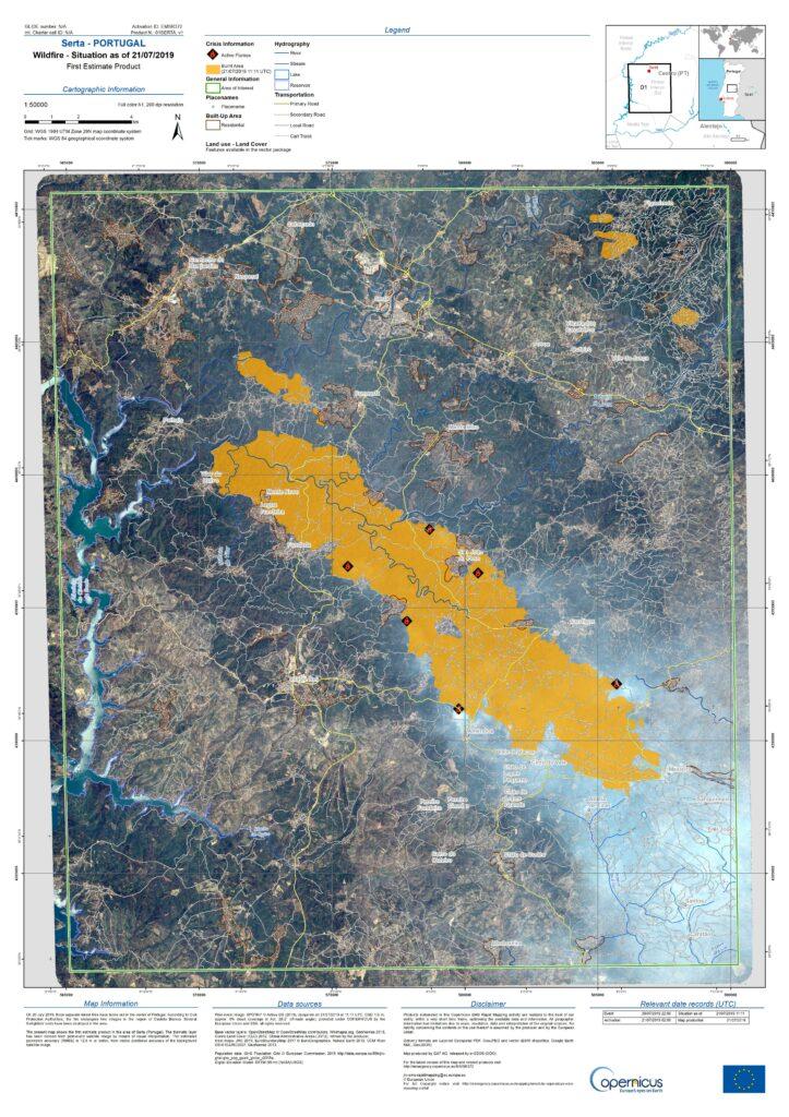 Algarve News Waldbrände Satellitenbild Kopernikus