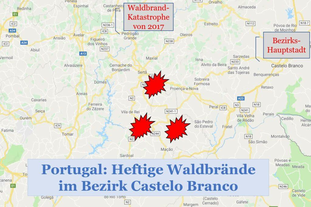 Algarve News Waldbrände Portugal Karte Castelo Branco