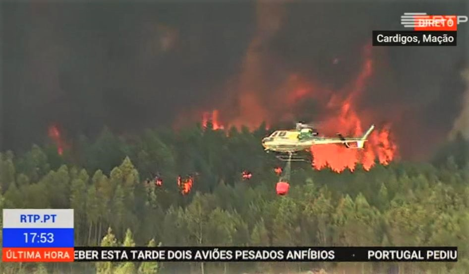 Portugal-Waldbrände Wiederaufflammen bei Cardigos nahe Macao