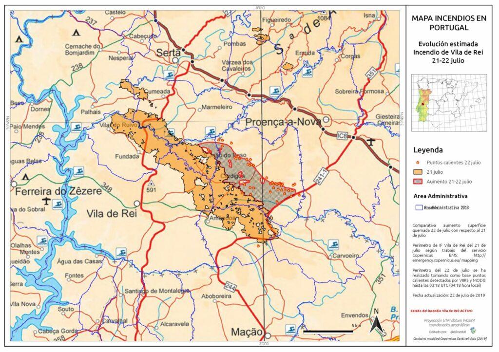 Portugal-Waldbrände Ausdehnung Karte Educacion Forestal