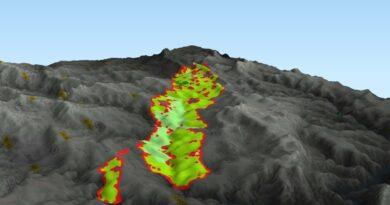Vier Tage breiteten sich in Portugal Waldbrände aus wie die 3D-Grafik des Satellitenprogramms Copernicus zeigt