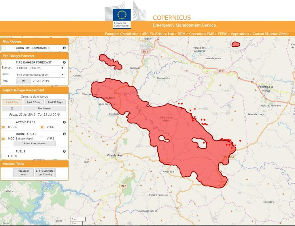 Vier Tage Waldbrände im Zentrum Portugals sorgten für große Flächenausdehnung