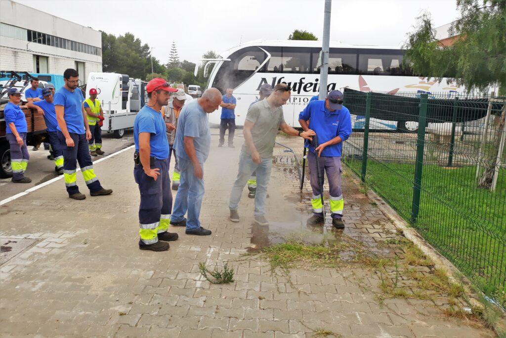 Algarve News zu Unkrautvernichtung mit Heißwasser in Albufeira
