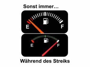 Tankwagen-Streik löst Ärger aber auch humorigen Umgang mit der Lage aus