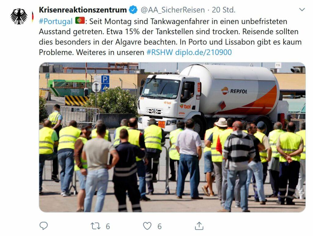 Tankwagen-Streik ruft Information des Auswärtigen Amts auf den Plan